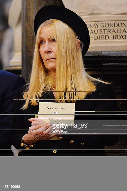 Carina Frost widow of British broadcaster David Frost attends a memorial service for her late husband at Westminster Abbey on March 13 2014 in London...