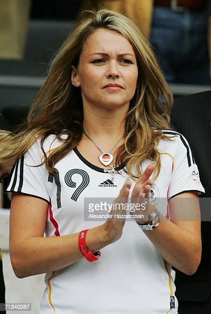 Carina girlfriend of Germany's Bernd Schneider watches the FIFA World Cup Germany 2006 Quarterfinal match between Germany and Argentina played at the...