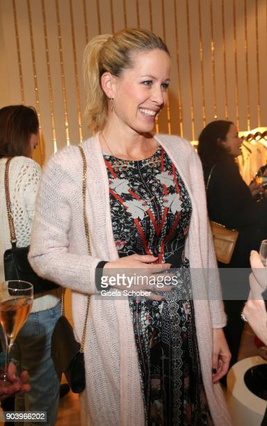 Carina Gomez wife of Mario Gomez pregnant during the opening of the Kaviar Gauche Bridal Concept Store on January 11 2018 in Munich Germany