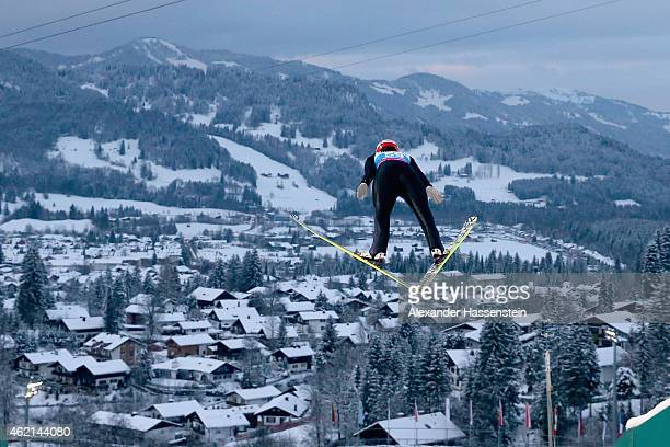 Carina Vogt of Germany competes during day two of the Women Ski Jumping World Cup event at SchattenbergSchanze Erdinger Arena on January 25 2015 in...