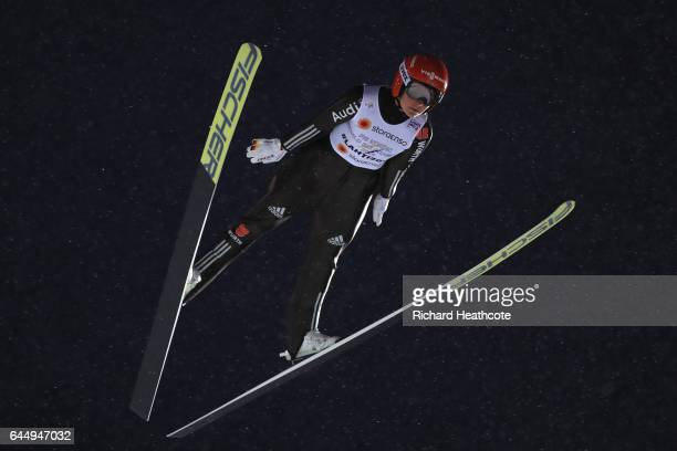 Carina Vogt of Germany competes in the Women's Ski Jumping HS100 during the FIS Nordic World Ski Championships on February 24 2017 in Lahti Finland