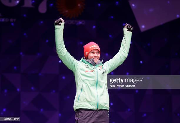Carina Vogt of Germany during the prize ceremony after the women's ski jumping HS100 during the FIS Nordic World Ski Championships on February 24...