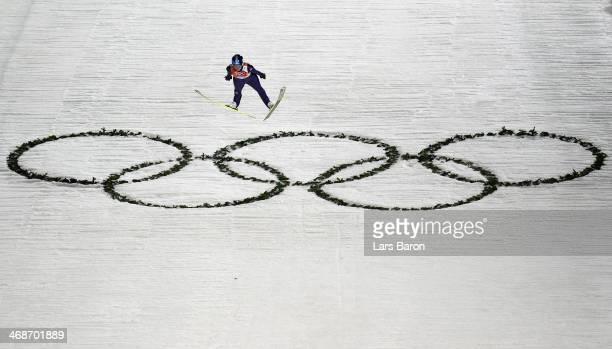 Carina Vogt of Germany jumps during the Ladies' Normal Hill Individual first round on day 4 of the Sochi 2014 Winter Olympics at the RusSki Gorki Ski...