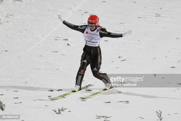 Carina Vogt of Germany lands her second jump in the Women's Ski Jumping HS100 during the FIS Nordic World Ski Championships on February 24 2017 in...