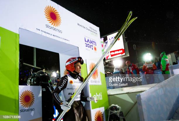 Carina Vogt of Germany leaves the finish area in the Women's Ski Jumping HS100 during the FIS Nordic World Ski Championships on February 24 2017 in...