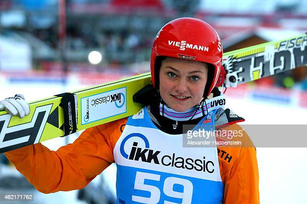 Carina Vogt of Germany looks on during day two of the Women Ski Jumping World Cup event at SchattenbergSchanze Erdinger Arena on January 25 2015 in...