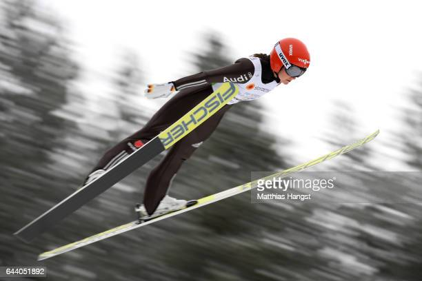 Carina Vogt of Germany makes a practice jump prior to the Women's Ski Jumping HS100 qualification rounds during the FIS Nordic World Ski...