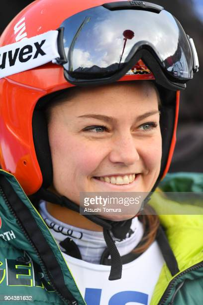 Carina Vogt of Germany smiles during day one of the FIS Ski Jumping Women's World cup at Miyanomori Ski Jump Stadium on January 13, 2018 in Sapporo,...