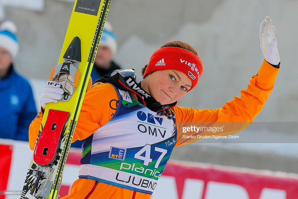 Carina Vogt of Germany takes 3rd place during the FIS Ski Jumping World Cup Women's HS95 on January 25, 2014 in Planica, Slovenia.
