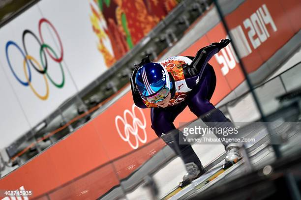 Carina Vogt of Germany wins the gold medal during the Ski Jumping Women's Normal Hill at the RusSki Gorki Jumping Center on February 11 2014 in Sochi...