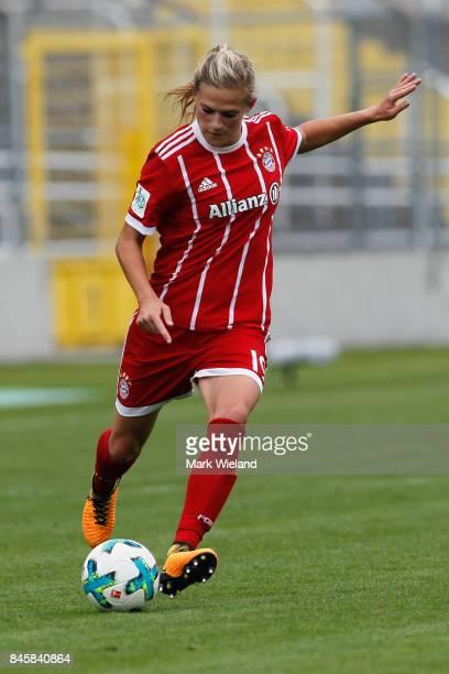 Carina Wenninger of Bayern Muenchen in action during the women Bundesliga match between Bayern Muenchen and SC Freiburg at Stadion an der Gruenwalder...