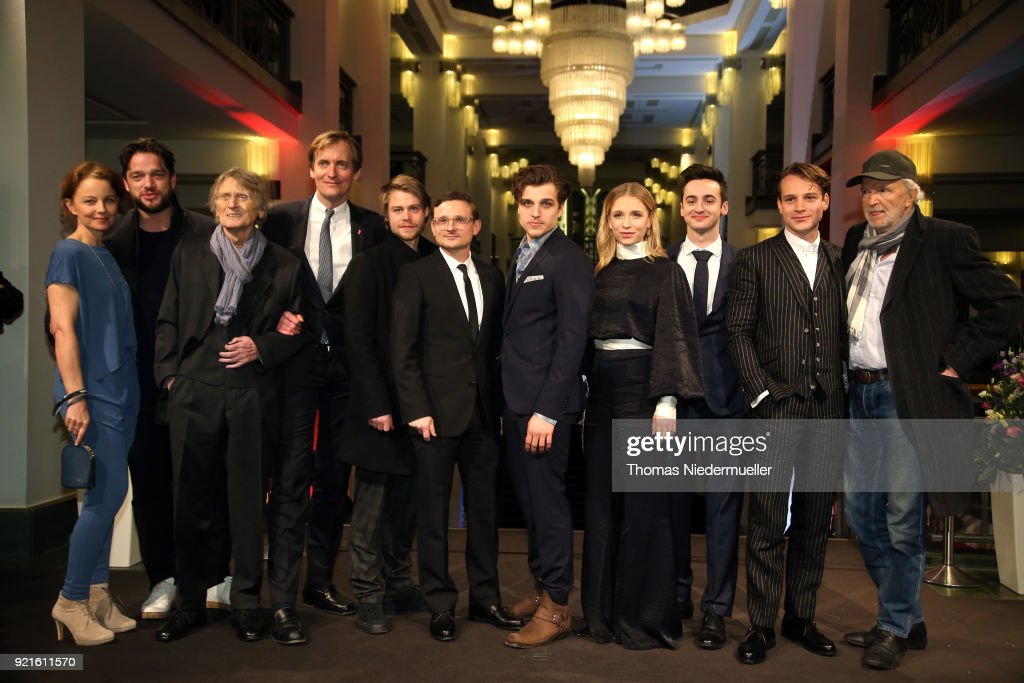 Carina Wiese, Ronald Zehrfeld, Dietrich Garstka, Lars Kraume, Tom Gramenz, Florian Lukas, Jonas Dassler, Lena Klenke, Isaiah Michalski, Leonard Scheicher and Michael Gwisdek attend the 'The Silent Revolution' (Das schweigende Klassenzimmer) premiere during the 68th Berlinale International Film Festival Berlin at Friedrichstadtpalast on February 20, 2018 in Berlin, Germany.