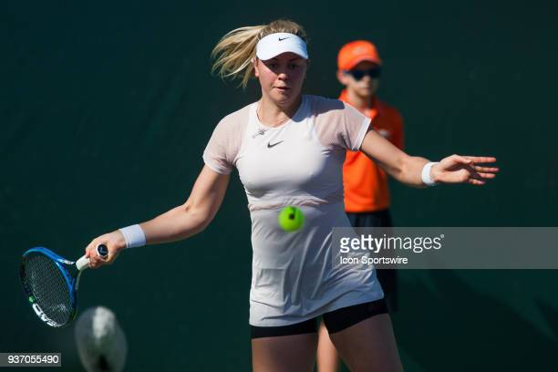 Carina Witthoeft in action on Day 4 of the Miami Open on March 22 at Crandon Park Tennis Center in Key Biscayne FL