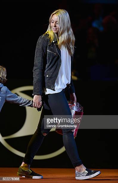 Carina Witthoeft of Germany enters the court for the players presentation during Day 1 of the Porsche Tennis Grand Prix at PorscheArena on April 18...