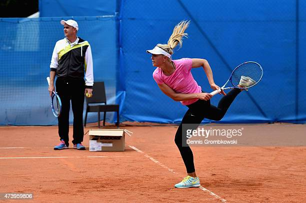 Carina Witthoeft of Germany is seen during a practice session during Day Four of the Nuernberger Versicherungscup 2015 on May 19 2015 in Nuremberg...
