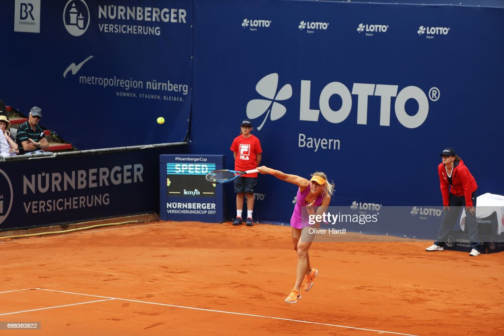 Carina Witthoeft of Germany of xxx in action against Barbora Krejcikova of Czech Republic in the quarter final during the WTA Nuernberger Versicherungscup on May 25, 2017 in Nuernberg, Germany.