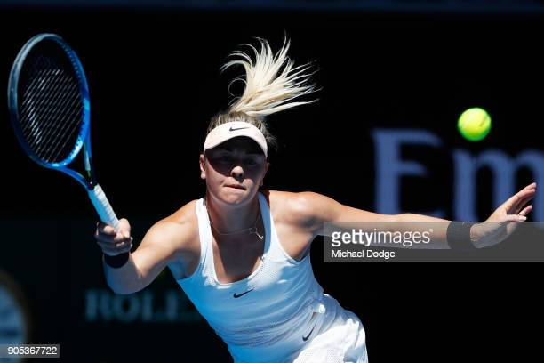 Carina Witthoeft of Germany plays a forehand in her first round match against Caroline Garcia of France on day two of the 2018 Australian Open at...