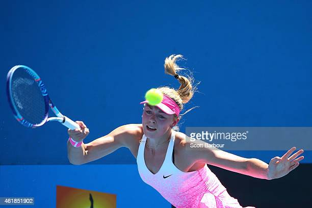 Carina Witthoeft of Germany plays a forehand in her second round match against Christina McHale of the United States during day three of the 2015...