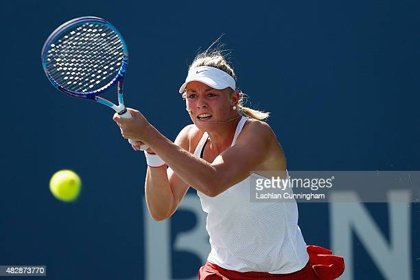 Carina Witthoeft of Germany plays against Andrea Petkovic of Germany during day one of the Bank of the West Classic at the Stanford University Taube...