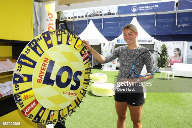 Carina Witthoeft of Germany poses after the first round during the WTA Nuernberger Versicherungscup on May 23 2017 in Nuernberg Germany