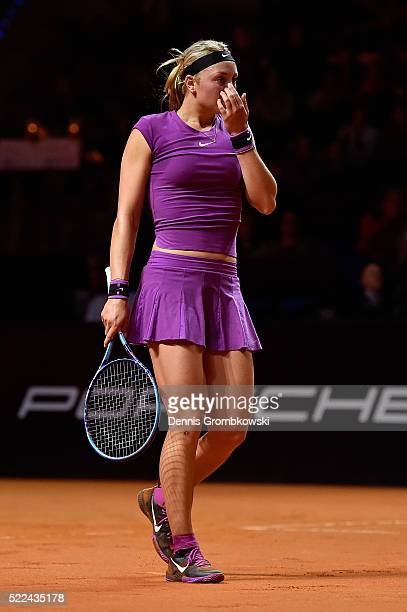 Carina Witthoeft of Germany react during her match against Ana Ivanovic of Serbia during Day 2 of the Porsche Tennis Grand Prix at PorscheArena on...