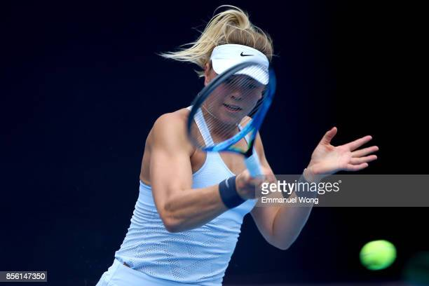 Carina Witthoeft of Germany returns a shot against Agnieszka Radwanska of Poland on day two of the 2017 China Open at the China National Tennis...