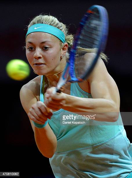 Carina Witthoeft of Germany returns during her match against Caroline Garcia of France on day four of the Porsche Tennis Grand Prix at PorscheArena...