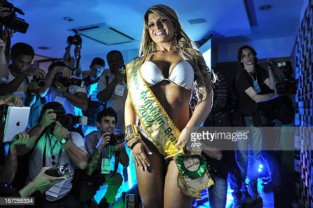 Carine Felizardo from Para state poses after winning the the Miss Bumbum pageant in Sao Paulo on November 30 2012 All eyes are on Brazil's annual...