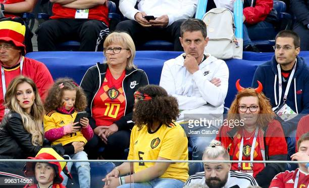 Carine Hazard and Thierry Hazard parents of Eden Hazard of Belgium during the 2018 FIFA World Cup Russia Semi Final match between France and Belgium...