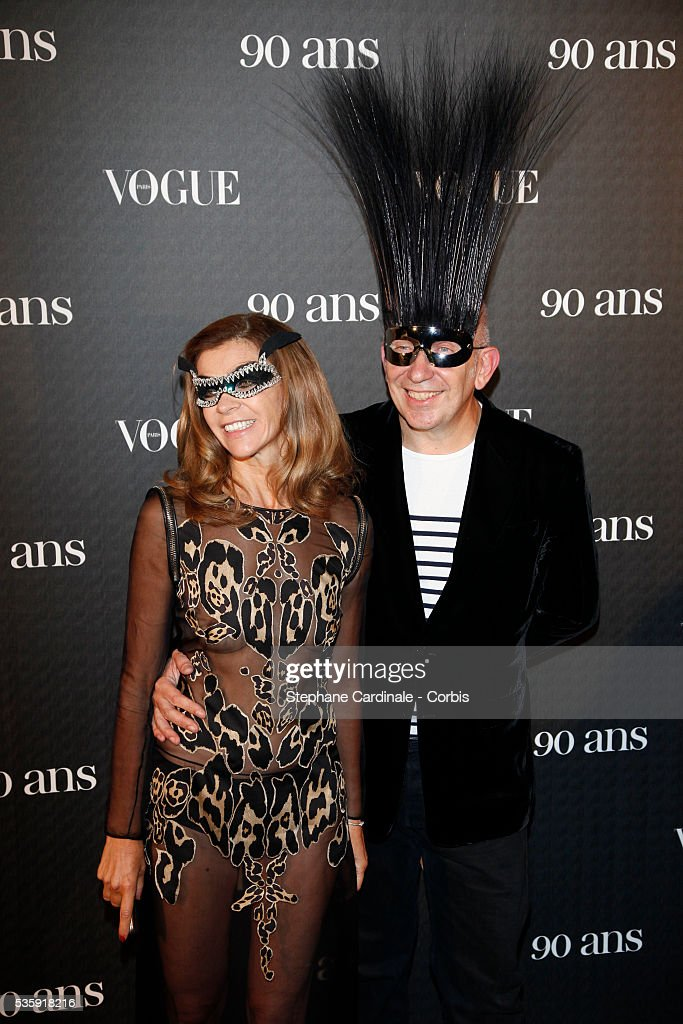 Carine Roitfeld and Jean Paul Gaultier attend the Vogue 90th Anniversary Party in Paris.