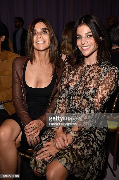 Carine Roitfeld and Julia Restoin Roitfeld attend the Givenchy show as part of the Paris Fashion Week Womenswear Spring/Summer 2015 on September 28...
