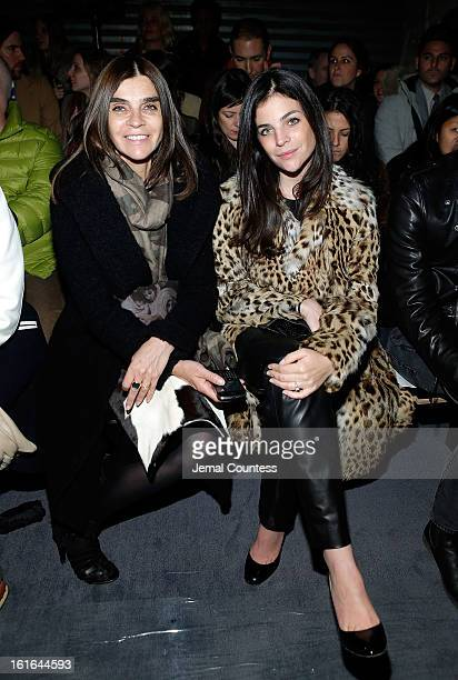 Carine Roitfeld and Julia Restoin Roitfeld attend the Proenza Schouler fall 2013 fashion show during MercedesBenz Fashion Week on February 13 2013 in...