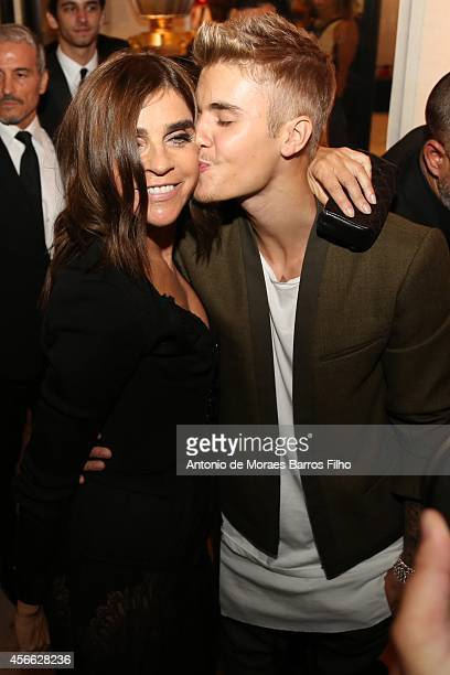 Carine Roitfeld and Justin Bieber attend the CR Fashion Book Issue No5 Launch Party hosted by Carine Roitfeld and Stephen Gan at The Peninsula Paris...