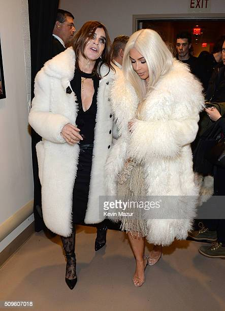Carine Roitfeld and Kim Kardashian West attend Kanye West Yeezy Season 3 at Madison Square Garden on February 11 2016 in New York City