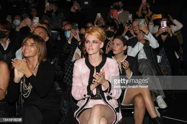 Carine Roitfeld and Kristen Stewart attend the Chanel Womenswear Spring/Summer 2022 show as part of Paris Fashion Week on October 05, 2021 in Paris,...