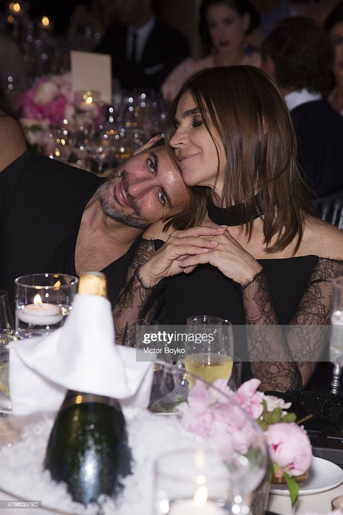 Carine Roitfeld and Marc Jacobs attend the amfAR dinner at the Pavillon LeDoyen during the Paris Fashion Week Haute Couture on July 5, 2015 in Paris, France.