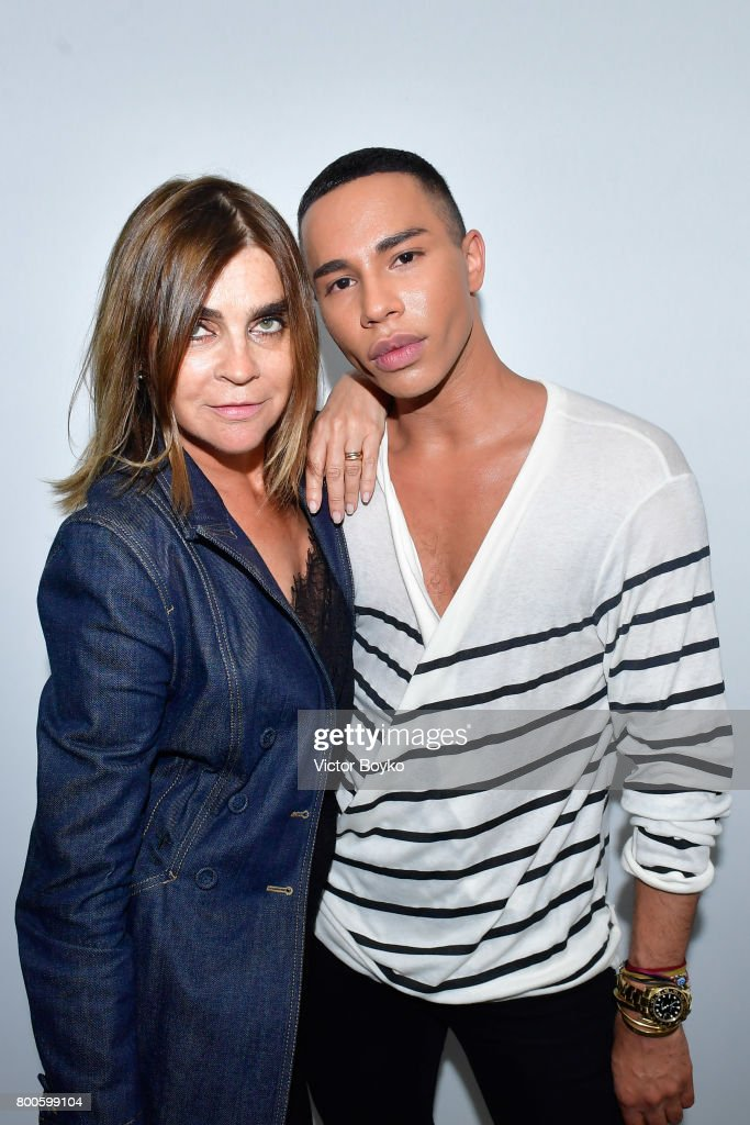 Carine Roitfeld and Olivier Rousteing attend the Balmain Menswear Spring/Summer 2018 show as part of Paris Fashion Week on June 24, 2017 in Paris, France.