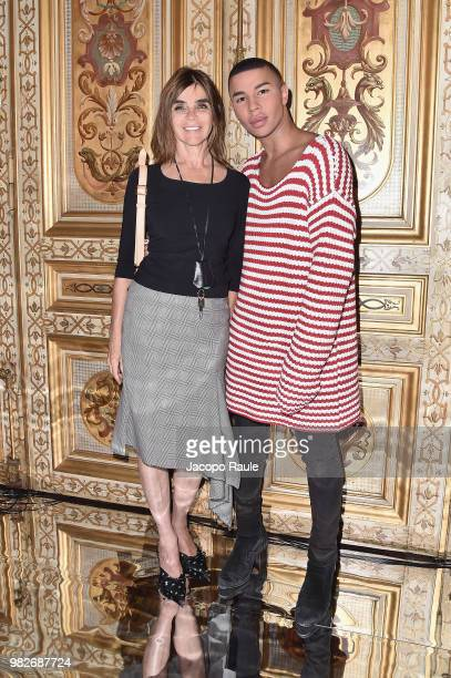 Carine Roitfeld and Olivier Rousteing attend the Balmain Menswear Spring/Summer 2019 show as part of Paris Fashion Week on June 24 2018 in Paris...