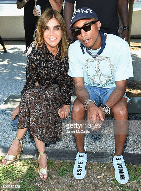 Carine Roitfeld and Pharrell Williams attend the Kanye West Yeezy Season 4 fashion show on September 7 2016 in New York City