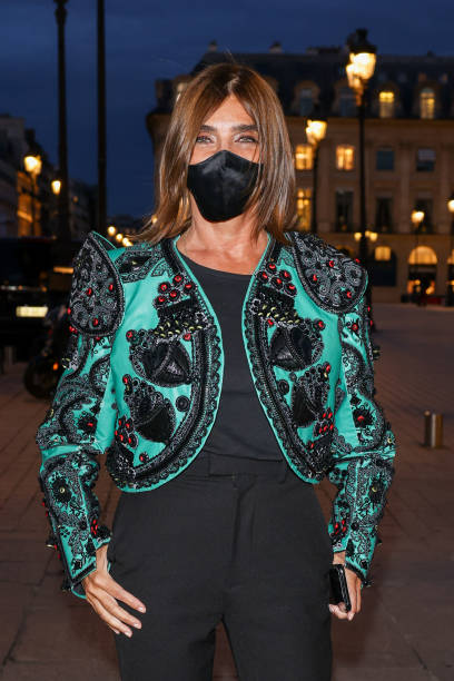FRA: Celebrities Wearing Face Masks At Paris Fashion Week - Womenswear Spring Summer 2021
