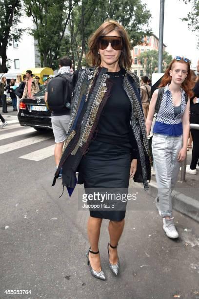 Carine Roitfeld arrives at Emporio Armani Fashion Show during Milan Fashion Week Womenswear Spring/Summer 2015 on September 18 2014 in Milan Italy