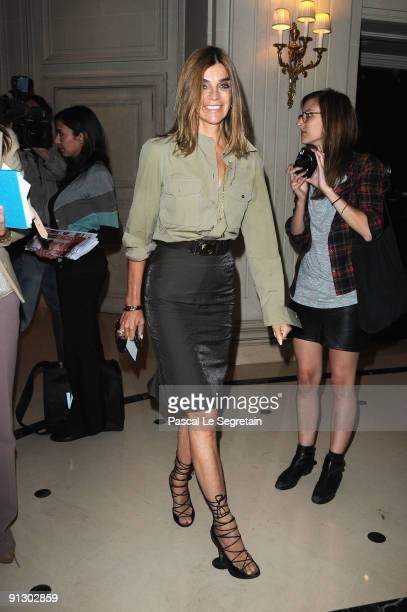 Carine Roitfeld arrives at the Balmain Pret a Porter show as part of the Paris Womenswear Fashion Week Spring/Summer 2010 on October 1 2009 at...
