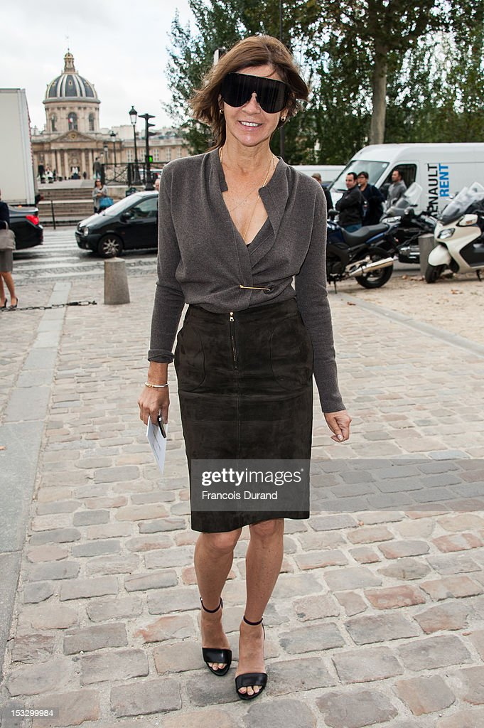 Carine Roitfeld arrives at the Louis Vuitton Spring/Summer 2013 show as part of Paris Fashion Week on October 3, 2012 in Paris, France.