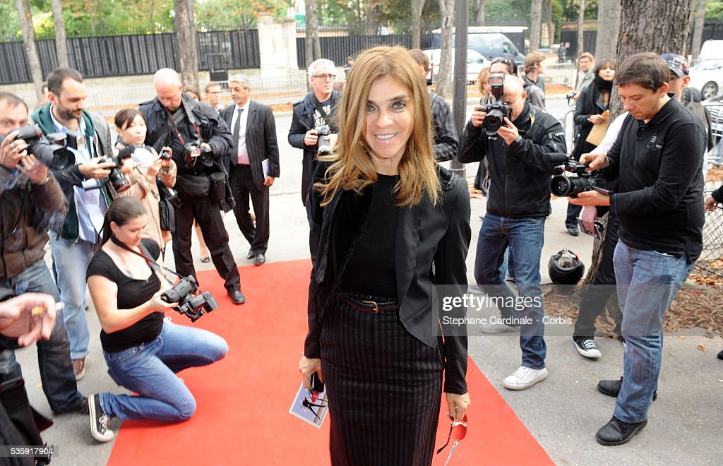 Carine Roitfeld attends Pierre Cardin show as part of Paris Fashion Week Spring/Summer 2011 at Espace Pierre Cardin in Paris.