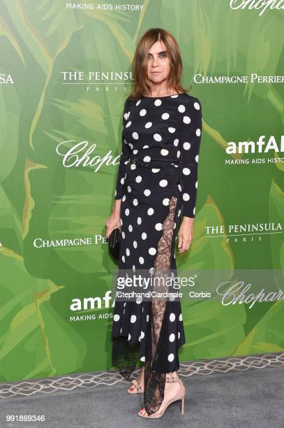 Carine Roitfeld attends the amfAR Paris Dinner 2018 at The Peninsula Hotel on July 4 2018 in Paris France