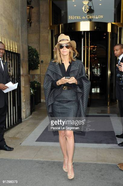 Carine Roitfeld attends the Balenciaga Pret a Porter show as part of the Paris Womenswear Fashion Week Spring/Summer 2010 on October 1 2009 in Paris...