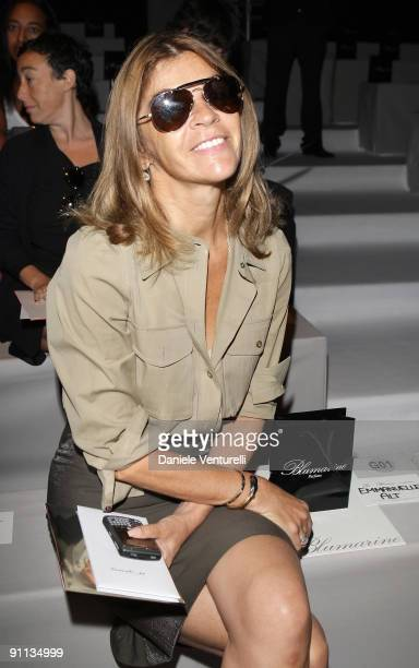 Carine Roitfeld attends the Blumarine Milan Womenswear Fashion Week Spring/Summer 2010 at the Milano Fashion Center at on September 25, 2009 in...