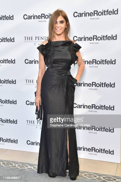 Carine Roitfeld attends the Carine Roitfeld Parfums 7 lovers Cocktail At The Peninsula Hotel In Paris on July 01 2019 in Paris France