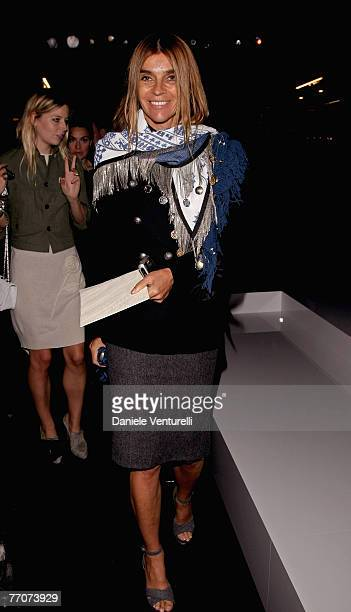 Carine Roitfeld attends the Dolce Gabbana show as part of Milan Fashion Week Spring Summer 2008 on September 27 2007 in Milan Italy