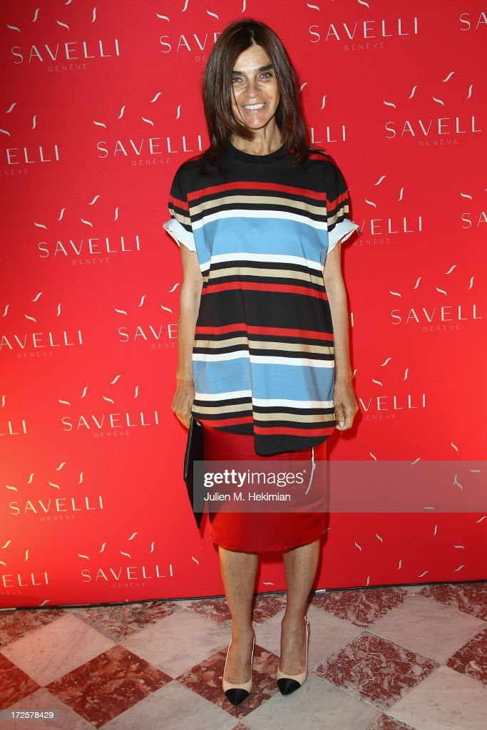Carine Roitfeld attends the Founder And CEO Alessandro Savelli And Contemporary Style Icon Julia Restoin Roitfeld Launch SAVELLI The World's First Luxury Smart Phone Especially For Women During Haute Couture Week at Musee Jacquemart-Andre on July 3, 2013 in Paris, France.